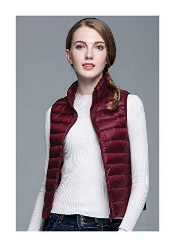 Vinter kvinnor vit anka dunväst dam ultralätt anka dunväst jacka höst vinter ärmlös kappa hem (färg: vin, storlek: M.)