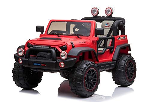 Mondial Toys Auto ELETTRICA 12V per Bambini 2 POSTI Maxi Fuoristrada con Telecomando 2.4G Soft Start AMMORTIZZATORI Full Optional MT-018 Rosso