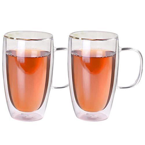 2er Set Doppelwandige Design Glas Tee Kaffee Becher mit Henkel hitzebeständig Klarglas Becher für Heiß- und Kaltgetränke 450 ml