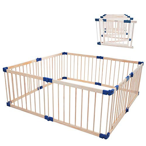 """Foldable playpen with Door Play Fence for Babies Kids Safety Play Center Yard with gate for Infants Extra Large Playard Anti-Fall Playpen Natural w/Gate (67.7""""X 67.7""""X 24 """" Folding Fence(8 Panels))"""