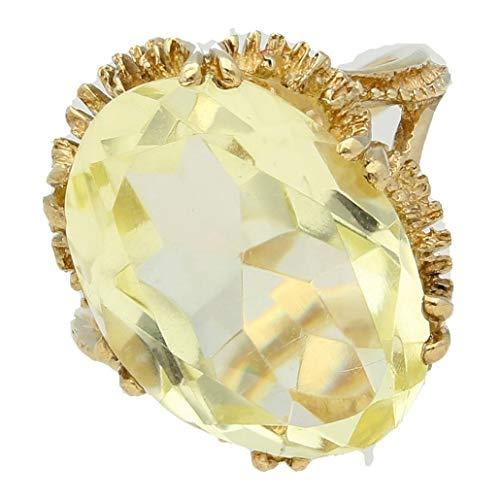 Womens Ring | 9Carat Geel Goud Citrien Citrien Solitaire Ring (Maat M) 13x18mm Hoofd | Een van een soort sieraden