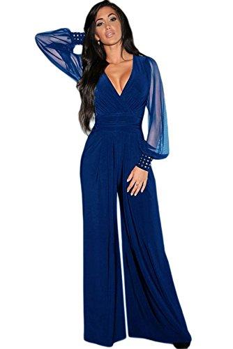 emmarcon Tuta Elegante Pantaloni Lunghi a Zampa Jumpsuit Vestito Abito Cerimonia da Donna, Scollo a V Profondo -Blue-XXL
