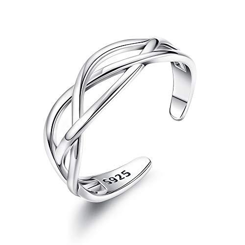 CASSIECA 925 Sterling Silber Keltischer Knoten Ring für Damen Mädchen Verstellbare Öffnung Keltisch Ring Ewigkeit Geschenkbox