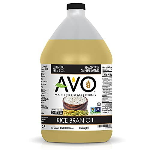 AVO NON GMO 100% RICE BRAN Oil Frying, Baking, Non-stick Sautéing, Salads, Vinaigrette, Marinades, Pan Coating, General Cooking 1 GALLON, NO preservatives added, Naturally Processed