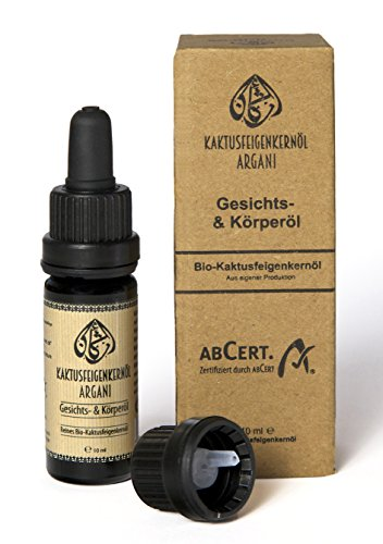 Argani Bio Kaktusfeigenkernöl 10ml kaltgepresst, nativ, vegan, Haaröl, Hautöl, Nagelöl, Gesichtsöl & Körperöl - bio zertifizierte Naturkosmetik (ABCERT)