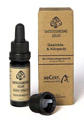 Argani Bio Kaktusfeigenkernöl 10ml kaltgepresst, nativ, vegan für Haar, Haut & Nägel - bio zertifizierte Naturkosmetik (ABCERT)