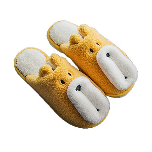 Hayi Ladies Cozy Memory Foam Slippers, Cute bear slippers with Warm Fuzzy Faux Fur Lining, Winter slippers Anti-Skid with Indoor, Outdoor,Yellow,35/36 EU