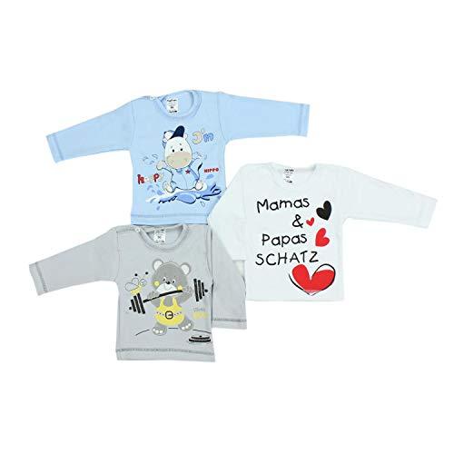 TupTam Unisex Baby Langarmshirt mit Spruch Aufdruck 3er Set, Farbe: Junge, Größe: 62