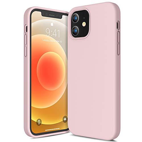 CANSHN Liquid Silikon Hülle Kompatibel mit iPhone 12 Mini 2020, Seidig Weiche Matte Gel Gummi mit Samtiger Microfaserinnenfutter Stoßfest Vollkörperschutz Hülle Handyhülle Schutzhülle - Sandrosa