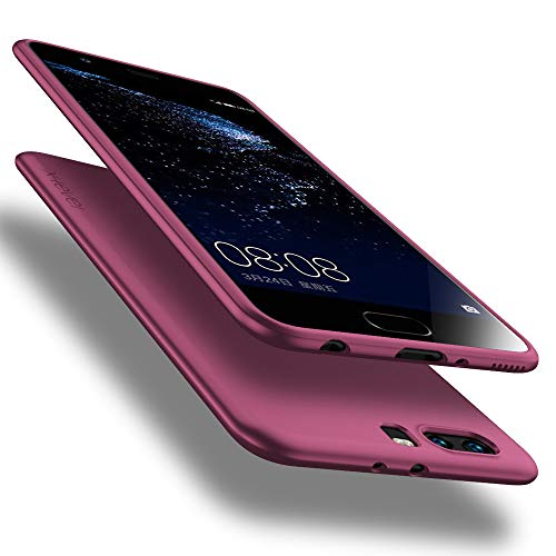 X-level Funda para Huawei P10 Plus, Carcasa para Huawei P10 Plus Suave TPU Gel Silicona Ultra Fina Anti-Arañazos y Protección a Bordes Funda Phone Case para Huawei P10 Plus - Vino Rojo