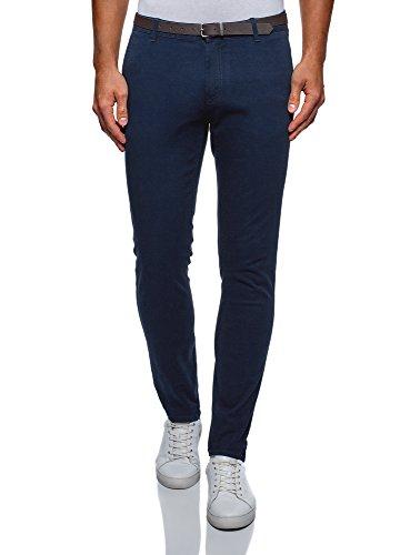 oodji Ultra Hombre Pantalones de Algodón con Cinturón, Azul, ES 38 (S)