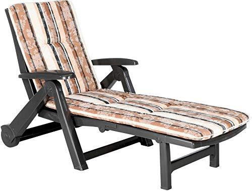 USDFJN Klappstuhl Gartenstuhl Aluminium Polyrattan wetterbeständig leicht und stabil 5-Fach verstellbare Rückenlehne nkl. Polster Braun weiß 【QG*60943】
