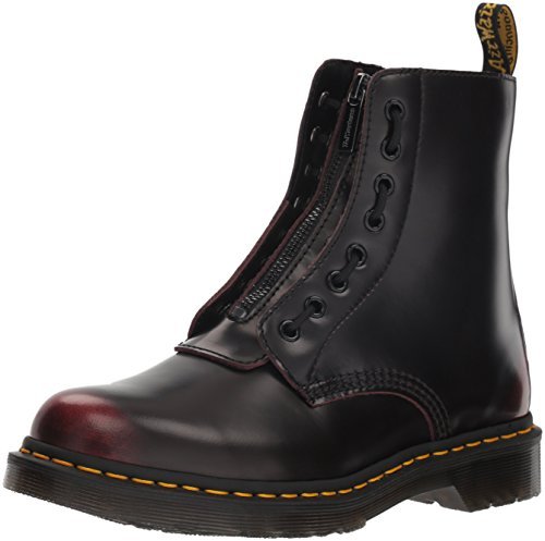 Dr. Martens Women's 1460 Pascal FRNT Zip Mid Calf Boot, Cherry Red Arcadia, 7
