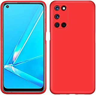 OPPO A92 Case, LaimTop Slim Liquid Silicone Soft Gel Rubber Shockproof Anti-Scratch Protective Case Cover for OPPO A92 Red