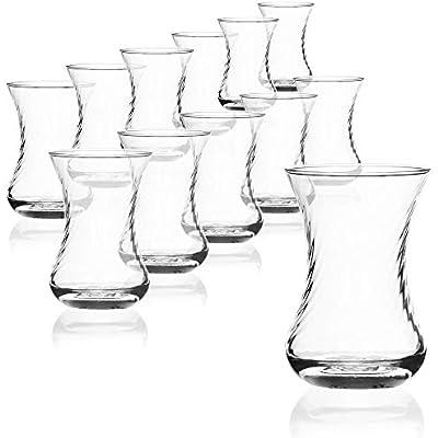com-four® Juego de Vasos de té de 12 Piezas, Vasos de té Turco, Juego Original Oriental Çay para 12 Personas en un diseño Tradicional