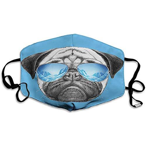 Mops, Mops Porträt mit Spiegel Sonnenbrille Hand gezeichnete Illustration von Haustier Tier lustig, Perlblau
