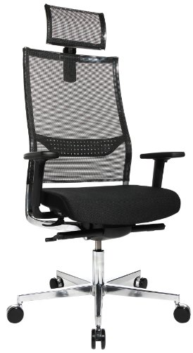 Topstar BG19TWW500X Bürostuhl New Alu Art inklusive Netz-Kopfstütze, Bezug schwarz