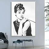 Audrey Hepburn maquillaje clásico Potrait póster moderno impresiones lienzo pintura arte cuadro de pared para la decoración de la sala de estar del hogar 30x45 CM (sin marco)