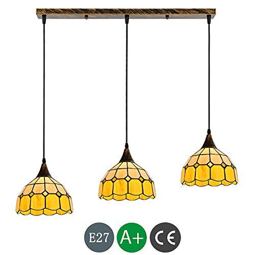 E27 Farbe Glas Tiffany Hängelampe LED Luxus Mittelmeer Pendelleuchte Höhenverstellbar Vintage Hängeleuchte Esszimmerlampe Esstischlampe Leuchte Wohnzimmer Schlafzimmer Küche Lampe Deckenbeleuchtung