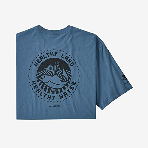 Patagonia M's Safeguard Stencil World Trout Organic T-Shirt Tricot Homme, Pigeon-Bleu, XXL