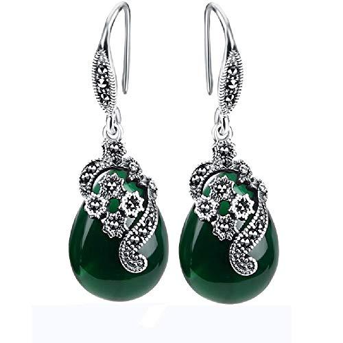 Pendientes originales de plata de ley S925 verde calcedonia temperamento retro pendientes super cuento de hadas nuevos accesorios de moda