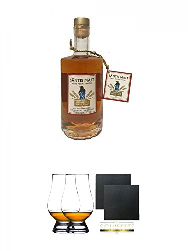 Säntis MALT (43%) HIMMELBERG Single Malt Whisky 0,5 Liter + The Glencairn Glass Whisky Glas Stölzle 2 Stück + Schiefer Glasuntersetzer eckig ca. 9,5 cm Ø 2 Stück
