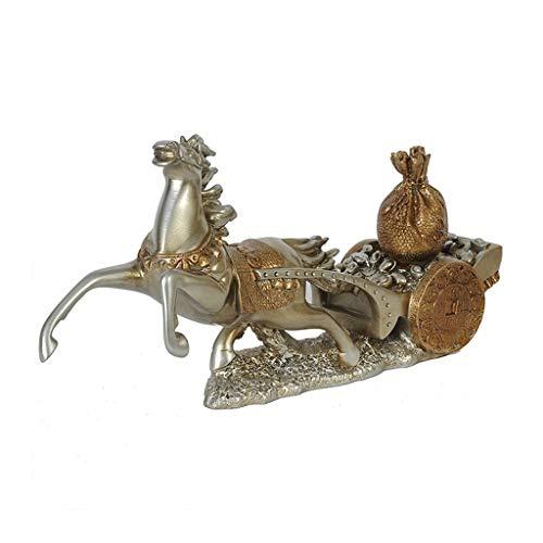 SHYPT Feng Shui Resin Horse auf Goldbarren-Statue-Zahl Symbol-Erfolgs-Innenministerium-Dekoration