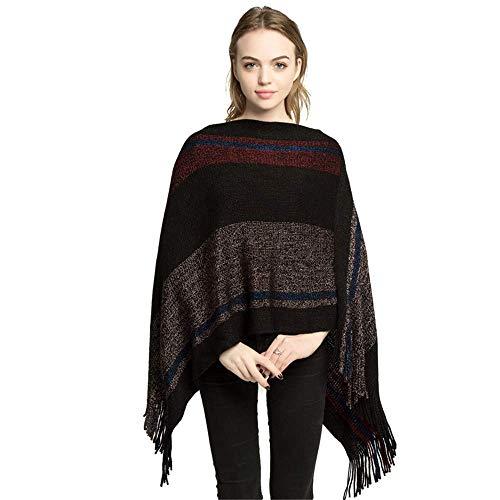Frauen Schal Damen Fransen Cape Quaste Strick Umhang Poncho Schals Pullover Outwear Tops Schals Stolen (Farbe: Schwarz) Geschenk