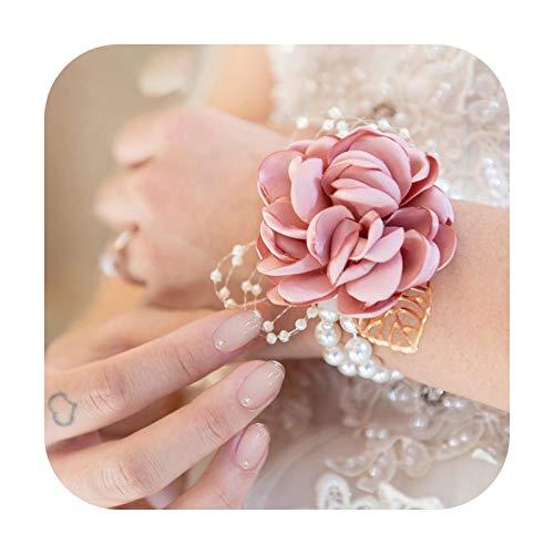 Art Flower Pulsera de boda para dama de honor, color rojo, seda, ramillete de dama de honor, flores de mano, para hombre, brazalete rosa