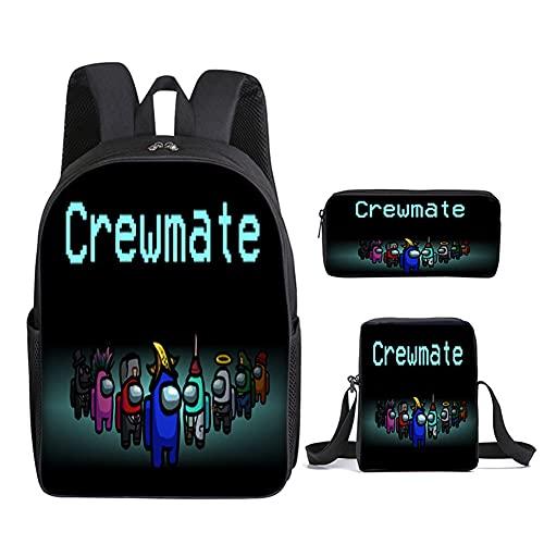 Hpory Mochila escolar de 3 juegos, mochila de viaje para adolescentes y estudiantes, con bolsa oblicua/bolso, Tipo 7, M