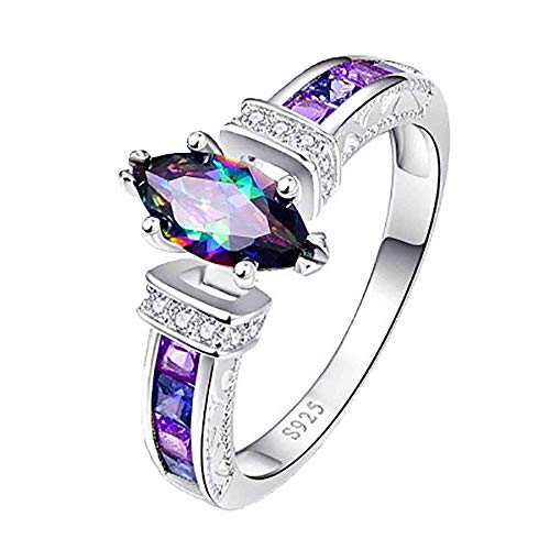 Rainbow Topaz Promise Rings for Women, Sterling Silver Wedding Band Engagement Ring Elegant Anniversary Graduation Party Jewelry Gift for Her, Wife, Girlfriends, Girls, Mom, Teens, Grandma (#9)