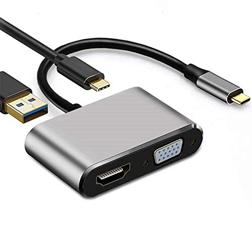 USB al adaptador C 4K 4-en-1 Tipo C Hub adaptador a HDMI adaptador HDMI VGA VGA multipuerto USB 3.0 Digital AV con USB-C PD Puerto de carga compatible for Nintendo Switch / Samsung / Cable adaptador