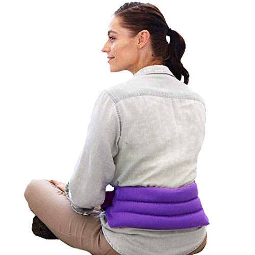 My Heating Pad for Cramps and Lower Back with Full Body Strap | Perfect Microwave for Sore Muscles, Stress Relief, and Relaxation | American Made Hot Packs for Pain (Purple)