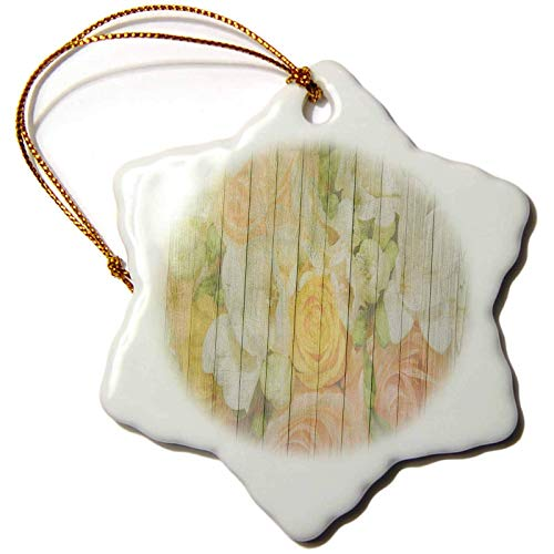 Blake55Albert Lens Art by Florene Wood Art Painting Image of Wood Painting Covered in Peach and Yellow Roses Christmas Ornaments for Kids Christmas Tree Decoration Ceramic 3 Inches