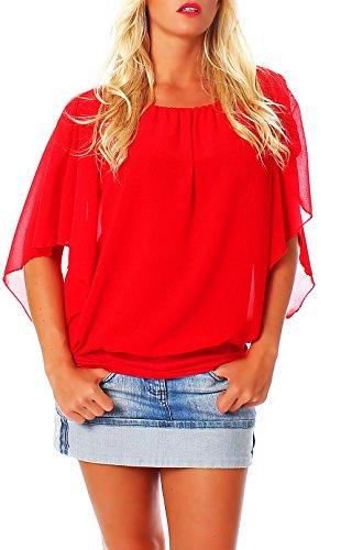 Damen Bluse im Fledermaus Look | Tunika mit Rundhals und breitem Bund | Blusenshirt Kurzarm | Elegant - Shirt 6296 (rot)
