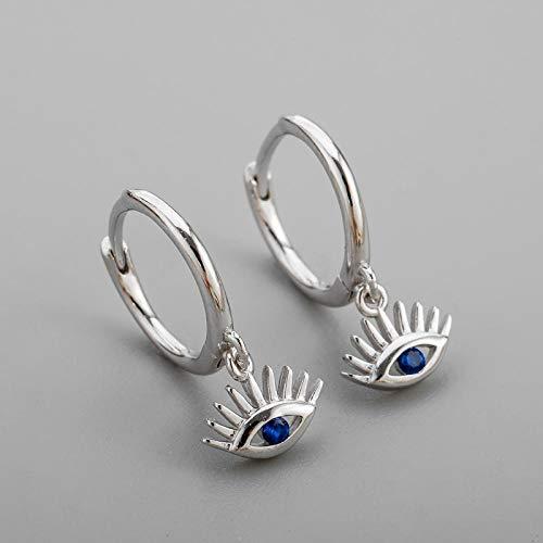 Pendientes Mujer Plata De Ley 925 Pendiente De Aro Azul Mujer Hombre Joyería De Moda Regalos -Silver_Color
