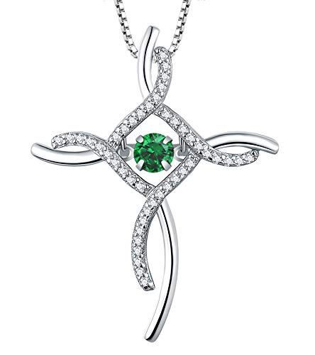 YL Celtic Knot Cross Necklace Sterling Silver Cubic Zirconia Loop Infinity Pendant Dancing Created Emerald Crucifix Jewelry
