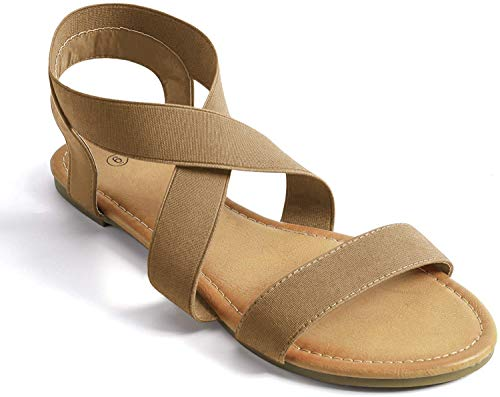 Soles & Souls Brown Elastic Ankle Strap Sandals for Women Flat Size 10