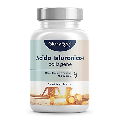 Acido Ialuronico + Collagene 180 Capsule, Con Vitamina C, Biotina, Zinco e Selenio, 1000mg Collagene...