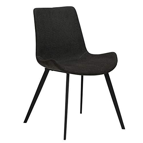 2X Esszimmerstuhl Danform Stoff Küchenstuhl Polster Stuhl Set Stühle schwarz