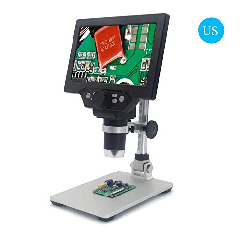Teepao 7inch LCD Digital Microscope, 1X to 1200X Magnification 1080P 12 Megapixels No Reflection Microscope 8 Adjustable LED Light Video Camera Laboratory Apparatus