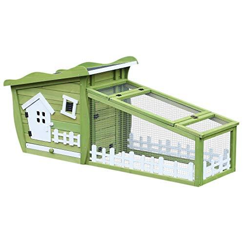 Pawhut Conejera de Madera Caseta Exterior con Bandeja Extraíble y Techo Asfáltico 156x65x65 cm Verde y Blanco