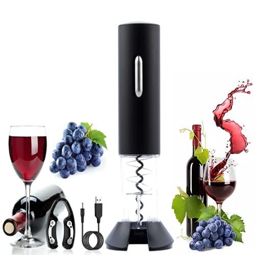 Semplice Ristorante Festa Apri Bottiglia Particolare Cavatappi Per Vino A Batteria Cavatappi Portatile Cavatappi Elettrico Per Vino Professionale (Nero)