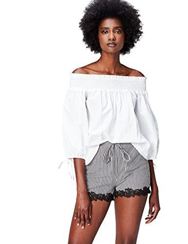 Amazon-Marke: find. Damen Short, Schwarz (Black/white Check), 38, Label: M