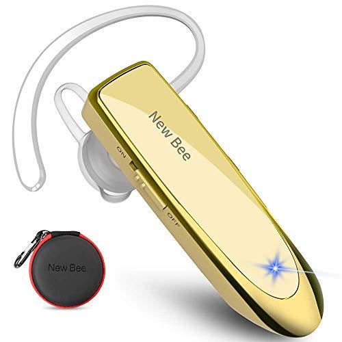 New Bee Auriculares Manos Libres, Auricular Bluetooth Inalámbrico Negocio con Micrófono Auricular para iPhone, Samsung, Huawei, Xiaomi, HTC, LG, Sony, PC 60 Días en Espera (Oro)