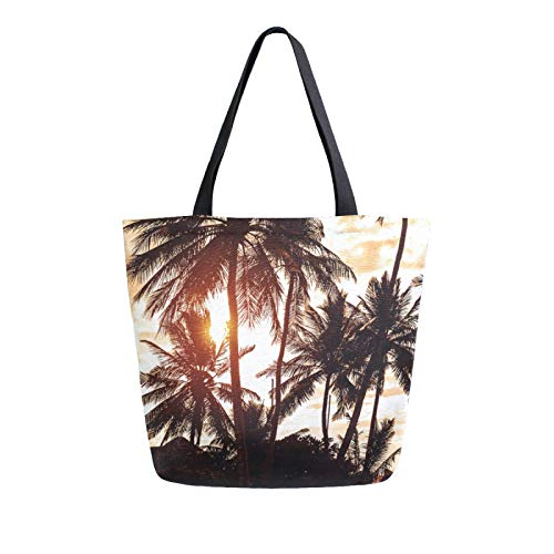 iRoad Women Canvas Bags Tropical Palm Tree Sunset Shopping Purse Handbag Reusable Grocery Bags Large Canvas Bag Tote for Travel School Work