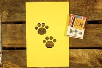 紙製 ワンシート ステンシル 型紙 肉球 猫の足跡2個 【4インチ】