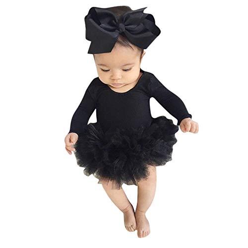 Zolimx Bambina 2pcs Neonata Natale Completini, Bebè Impronte Stampa Pagliaccetto Tutine Body+Fascia