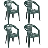 Piona Verde Chair with Armrests | 4 Pieces | Stackable Plastic Garden Bar Outdoor Camping Balcony Pizzeria