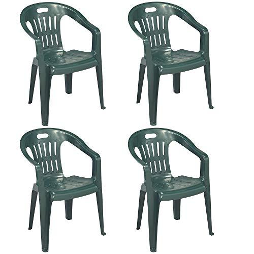 Sedia Verde con Braccioli | 4 Pezzi | Poltroncina in Plastica Impilabile da Giardino Garden Bar Interno Esterno Campeggio Balcone Pizzeria